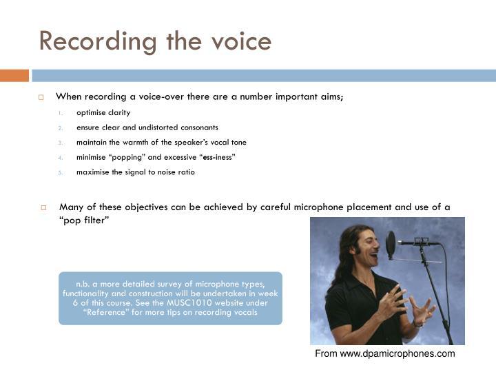 Recording the voice