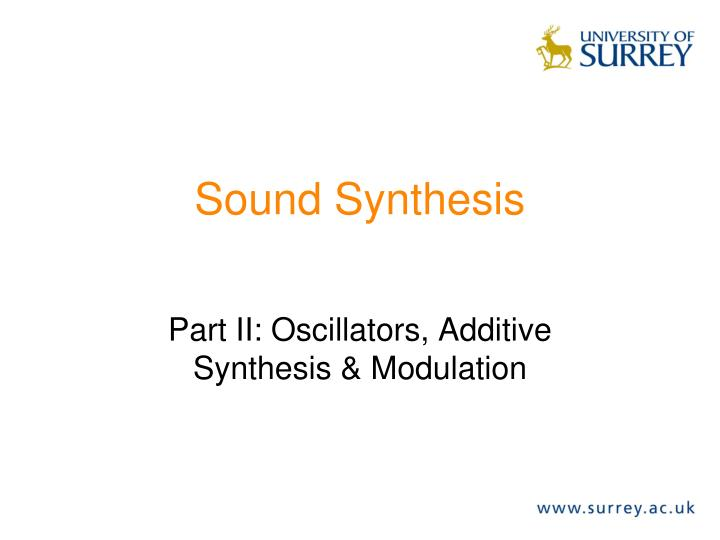 Sound synthesis
