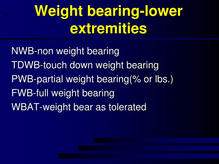 Weight bearing-lower extremities