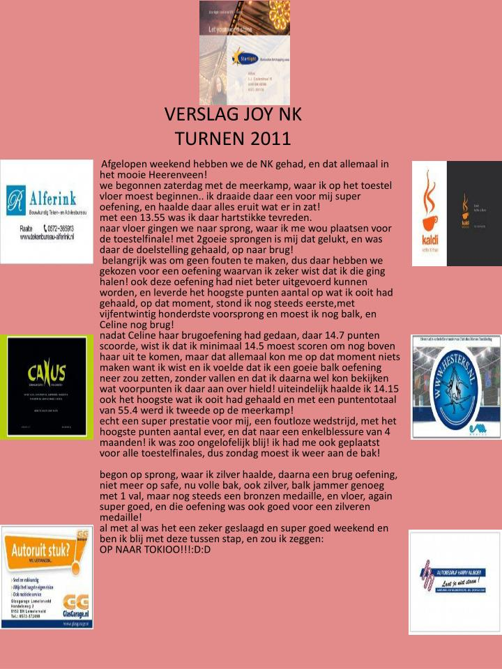 Verslag joy nk turnen 2011