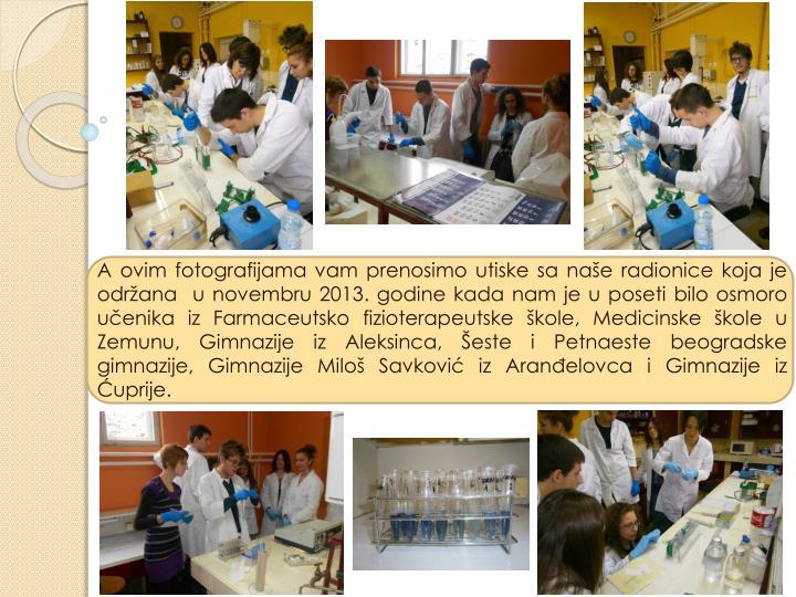 A ovim fotografijama vam prenosimo utiske sa naše radionice koja je održana  u novembru 2013. godine kada nam je u poseti bilo osmoro učenika iz Farmaceutsko fizioterapeutske škole, Medicinske škole u Zemunu, Gimnazije iz Aleksinca, Šeste i Petnaeste beogradske gimnazije, Gimnazije Miloš Savković iz Aranđelovca i Gimnazije iz Ćuprije.