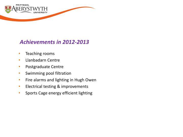 Achievements in 2012-2013
