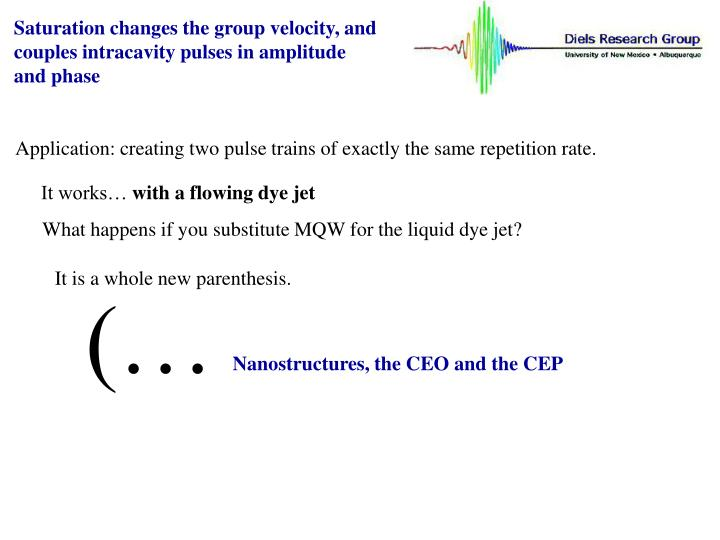 Saturation changes the group velocity, and