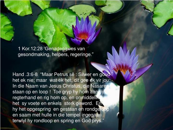 """1 Kor.12:28 'Genadegawes van gesondmaking, helpers, regeringe."""""""