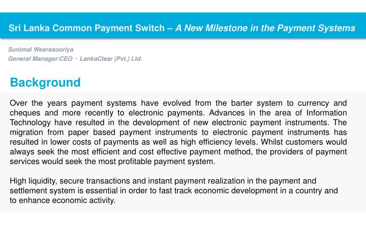 Sri Lanka Common Payment Switch –