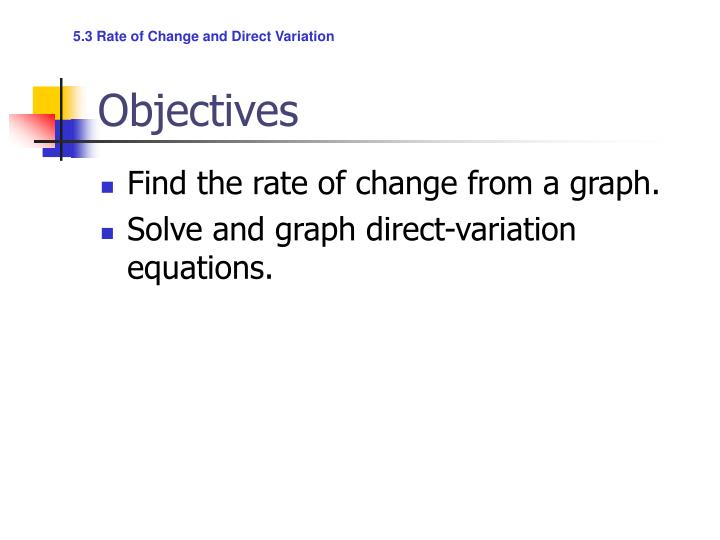 5.3 Rate of Change and Direct Variation