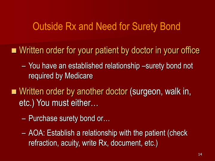 Outside Rx and Need for Surety Bond