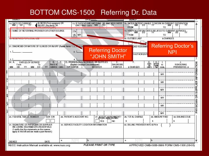 BOTTOM CMS-1500   Referring Dr. Data