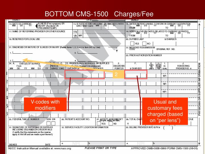 BOTTOM CMS-1500   Charges/Fee Data