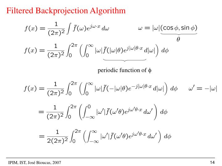 Filtered Backprojection Algorithm