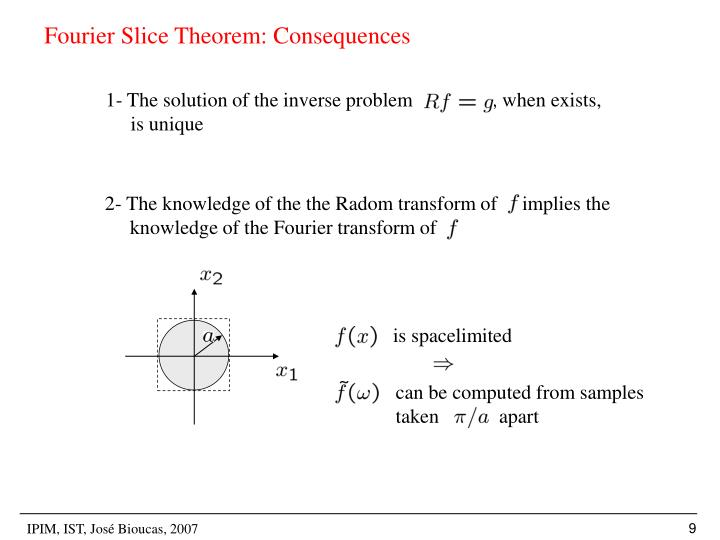 Fourier Slice Theorem: Consequences
