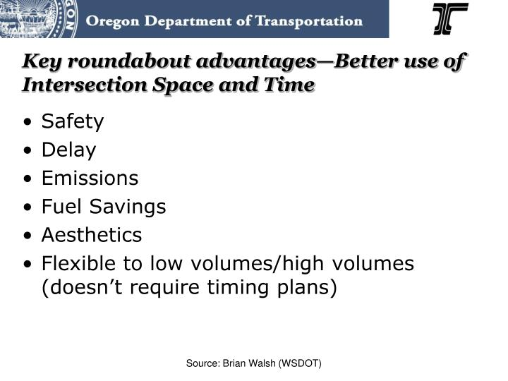 Key roundabout advantages—Better use of Intersection Space and Time