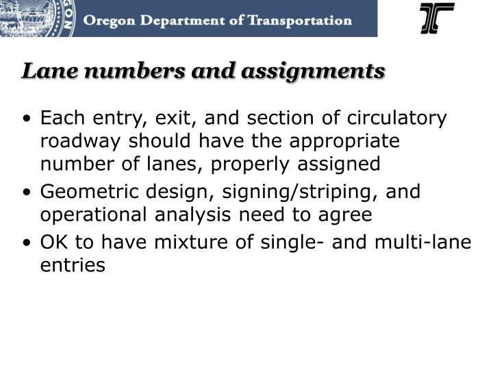 Lane numbers and assignments