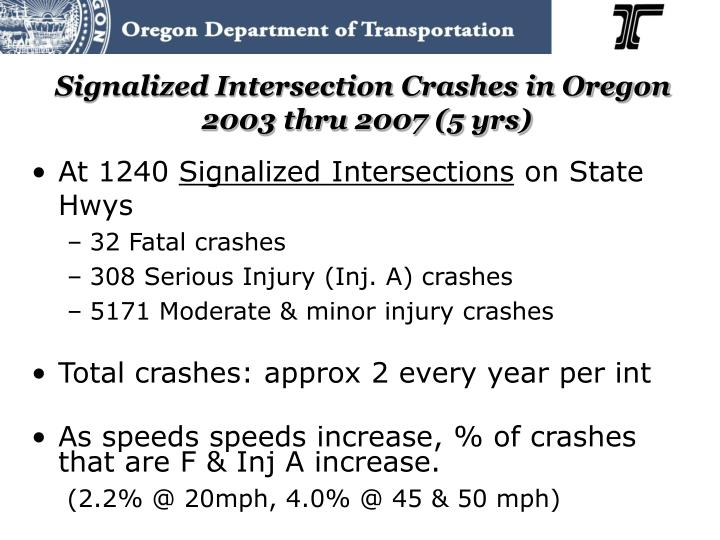 Signalized Intersection Crashes in Oregon
