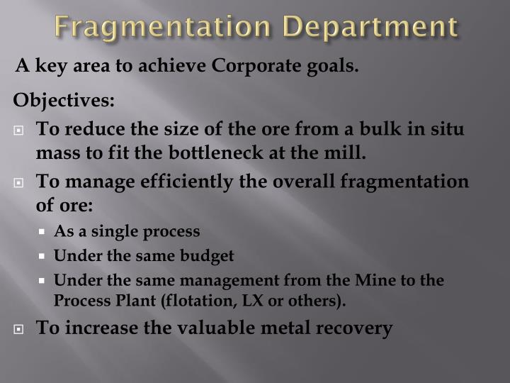 Fragmentation Department
