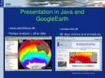 presentation in java and googleearth