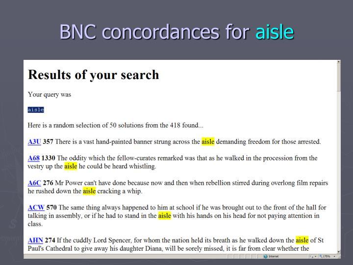 BNC concordances for
