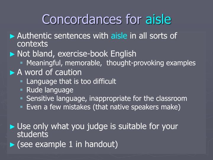 Concordances for