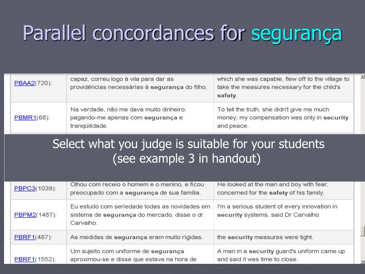 Parallel concordances for