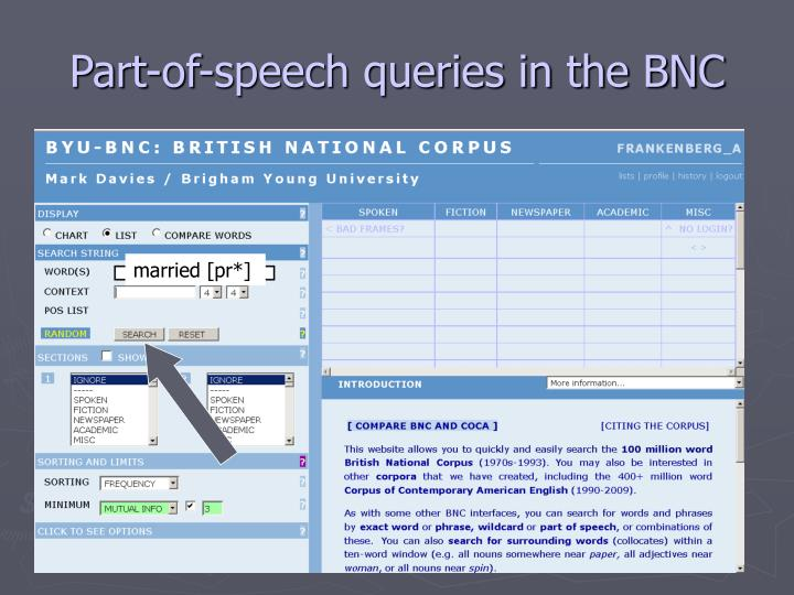 Part-of-speech queries in the BNC