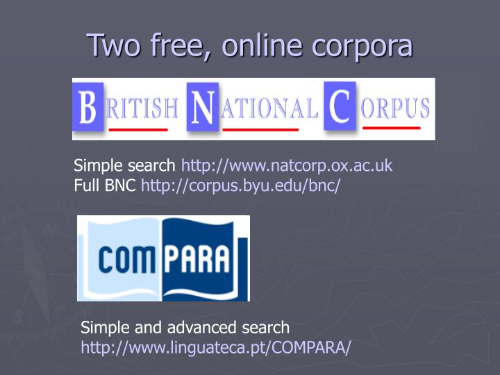 Two free, online corpora