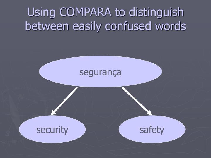 Using COMPARA to distinguish between easily confused words