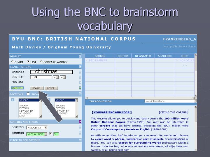 Using the BNC to brainstorm vocabulary