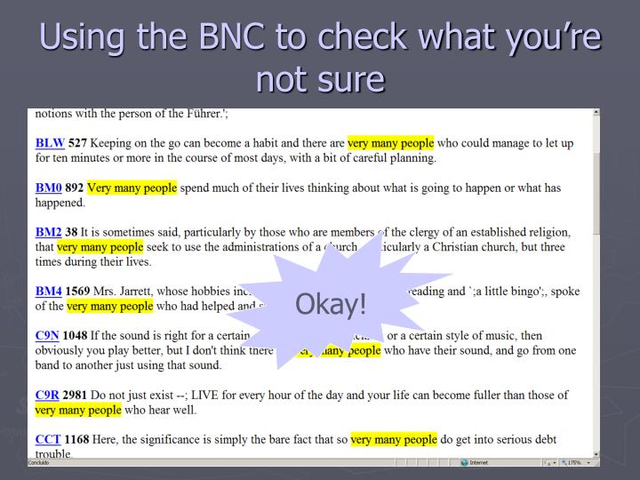Using the BNC to check what you're not sure