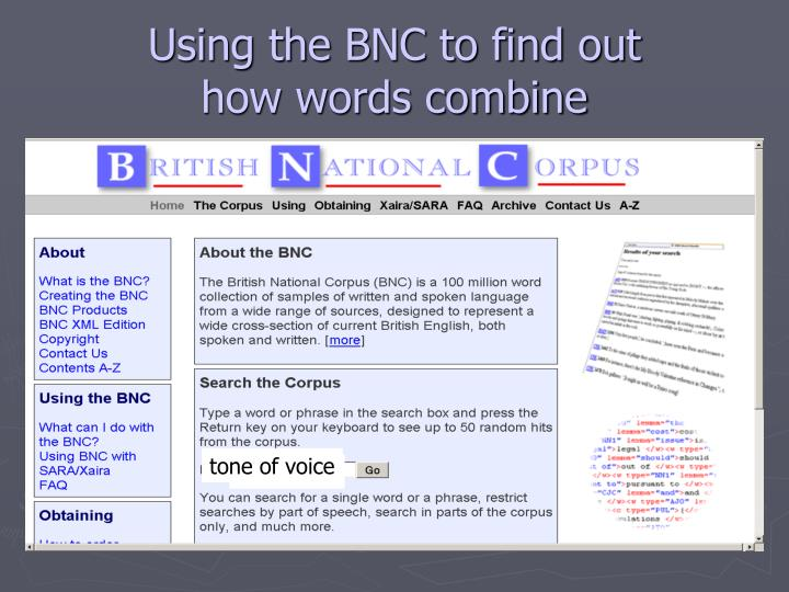 Using the BNC to find out