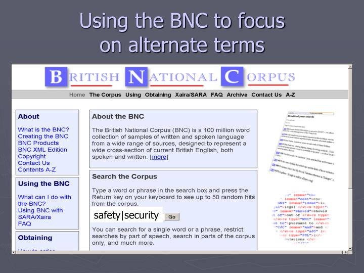 Using the BNC to focus