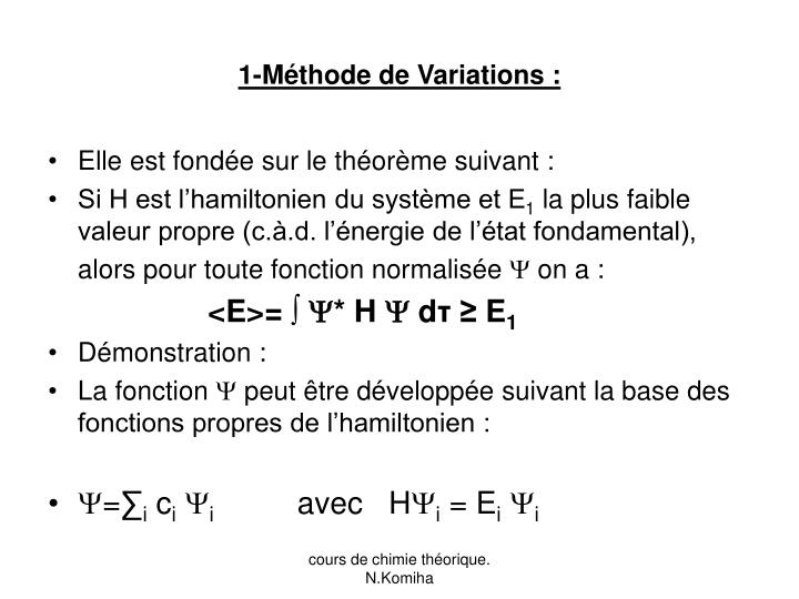 1-Méthode de Variations :