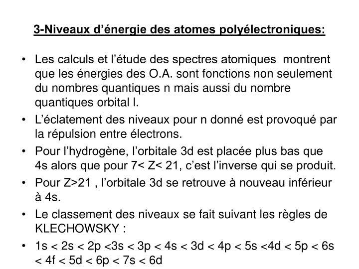 3-Niveaux d'énergie des atomes polyélectroniques: