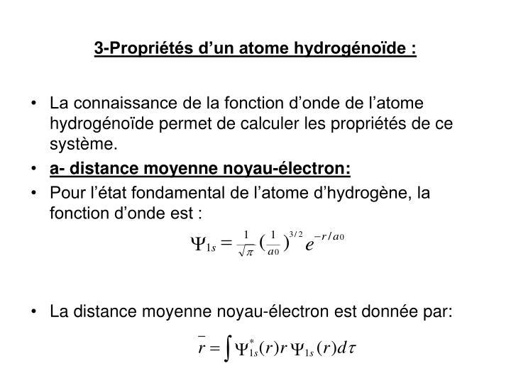 3-Propriétés d'un atome hydrogénoïde :