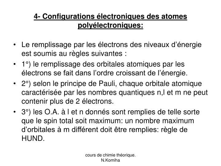 4- Configurations électroniques des atomes polyélectroniques: