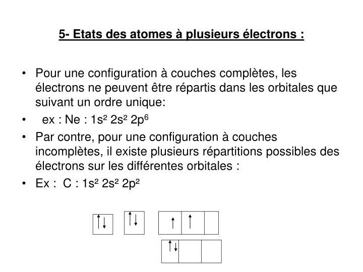 5- Etats des atomes à plusieurs électrons :
