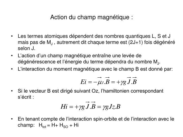 Action du champ magnétique :