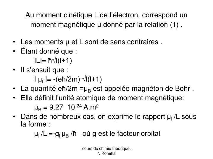 Au moment cinétique L de l'électron, correspond un moment magnétique
