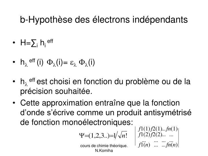 b-Hypothèse des électrons indépendants