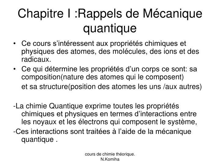 Chapitre I :Rappels de Mécanique quantique