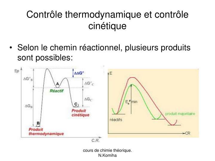 Contrôle thermodynamique et contrôle cinétique