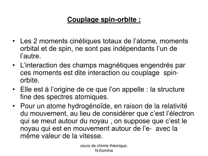Couplage spin-orbite :