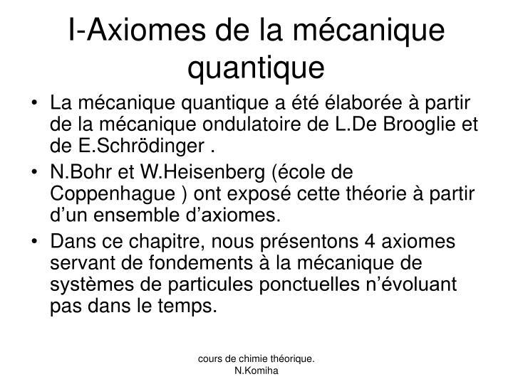 I-Axiomes de la mécanique quantique