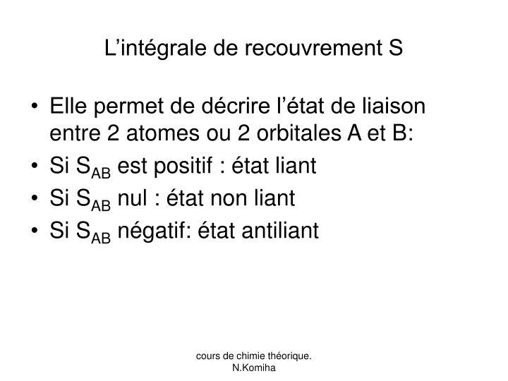 L'intégrale de recouvrement S