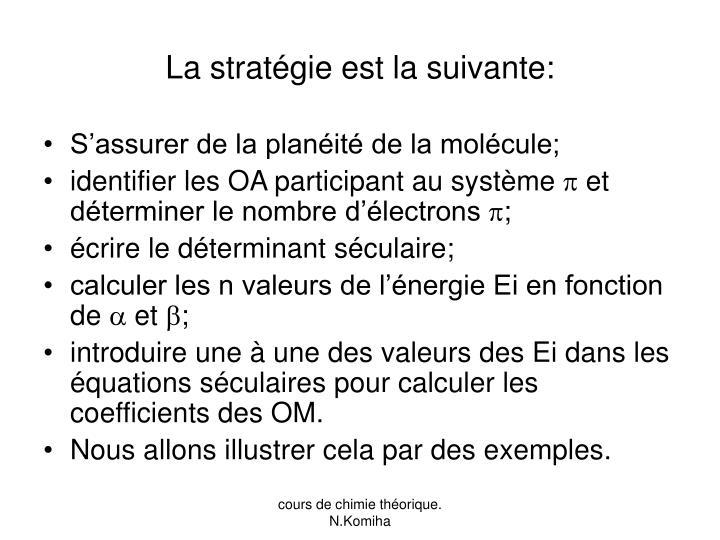 La stratégie est la suivante: