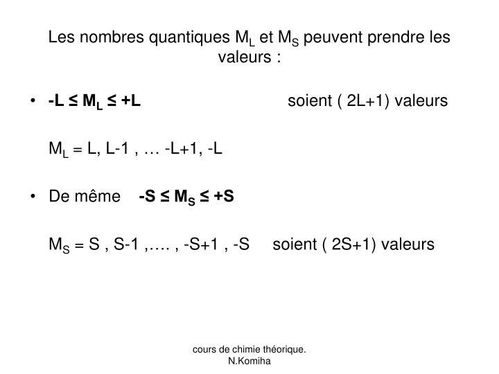 Les nombres quantiques M