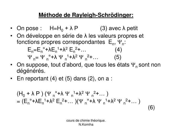 Méthode de Rayleigh-Schrödinger: