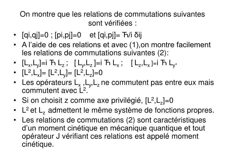 On montre que les relations de commutations suivantes sont vérifiées :