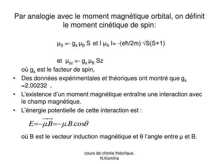 Par analogie avec le moment magnétique orbital, on définit le moment cinétique de spin: