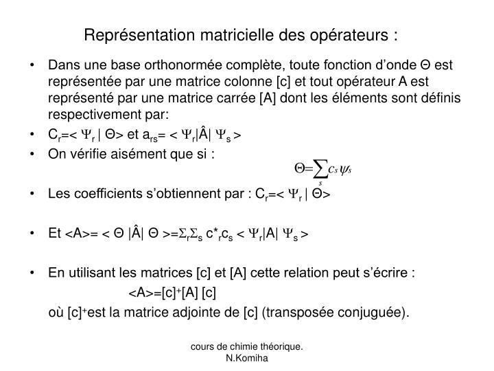 Représentation matricielle des opérateurs :