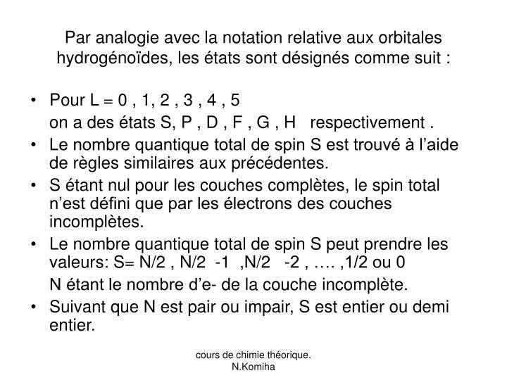 Par analogie avec la notation relative aux orbitales hydrogénoïdes, les états sont désignés comme suit :